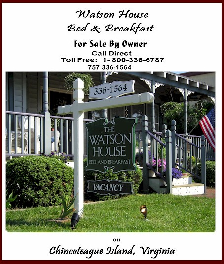 Eastern Shore of Virginia Bed and Breakfast for Sale on Chincoteague Island, Virginia